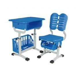 旋钮升降带篮课桌椅WT-19-1010