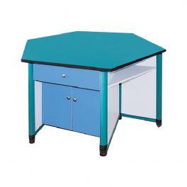 塑钢框架六角桌WT-LL402