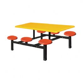 六位玻璃钢圆盘餐桌WT-13-6002