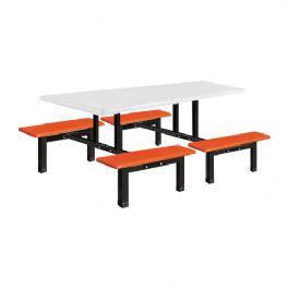 八位玻璃钢条形餐桌WT-13-6001